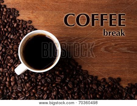 Cup Of Black Coffee With Roasted Coffe Beans With Title Coffee Break