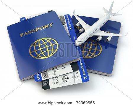 Travel concept. Passports, airline tickets and airplane. 3d