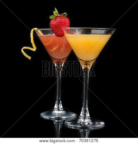 Two Cocktails Red Cosmopolitan Cocktail Decorated With Citrus Lemon