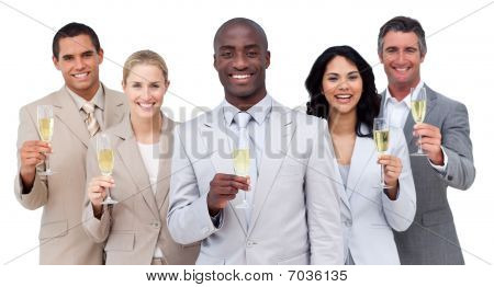 Portrait Of Multi-ethnic Business Team Drinking Champagne