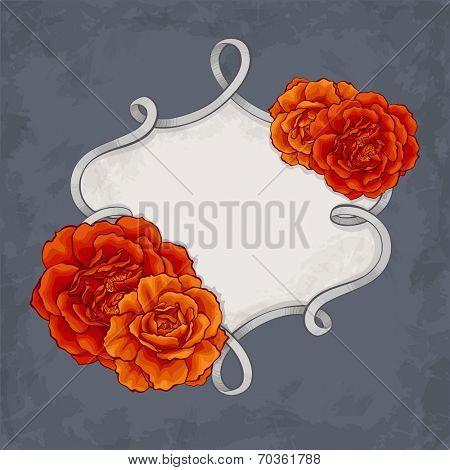 Beautiful roses frame design card