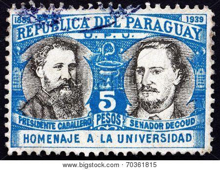 Postage Stamp Paraguay 1939 President Bernardino Caballero And Jose Decoud