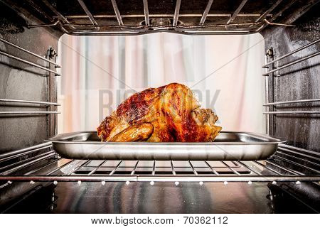 Roast chicken in the oven. Cooking in the oven.