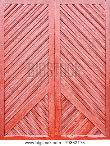 red wooden plank door