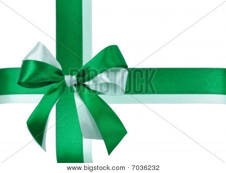 Festive Bow made of Green Ribbons Isolated
