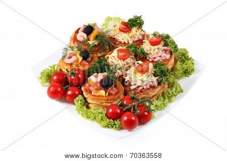 Assorted Sandwiches With Cheese, Ham, Shrimp And Salmon On White.