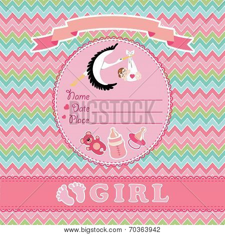 Cute vector card.Newborn girl baby shower