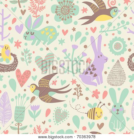 Stylish seamless pattern with cute swallows, rabbits, bee and flowers in vector. Seamless pattern can be used for wallpapers, pattern fills, web page backgrounds,surface textures