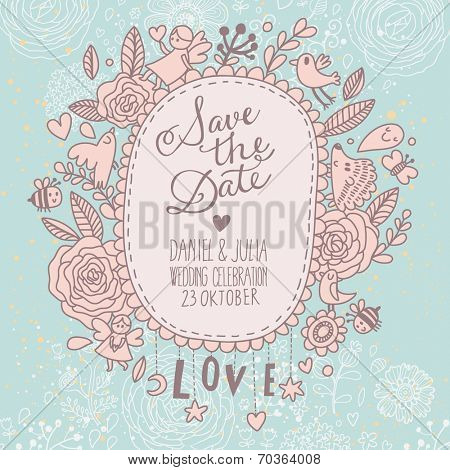 Beautiful Save the Date card in vintage style. Delightful wedding invitation with a lot of romantic elements: flowers. birds, bee, hearts and others in vector