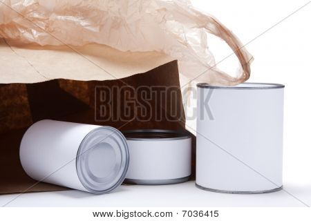 Canned Food With Open Grocery Bag