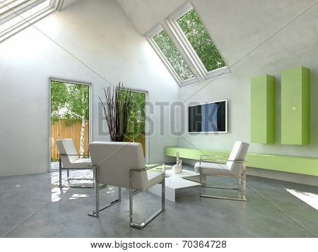 Modern simple cottage living room interior with modern chairs grouped around a low coffee table and a wall-mounted television and green cabinets with skylight windows and a door onto a small yard