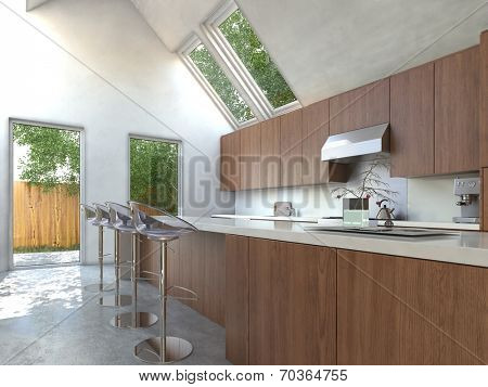 Compact modern open-plan kitchen with wooden cabinets, a bar counter and contemporary modular stools with a plate glass door opening onto a small yard and skylights