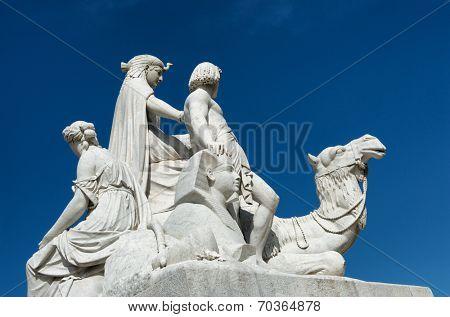 Closeup of stone statues at the Albert Memorial in Kensington Gardens, London, UK