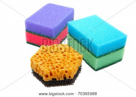 Sponges For Ware Washing Isolated On A White Background