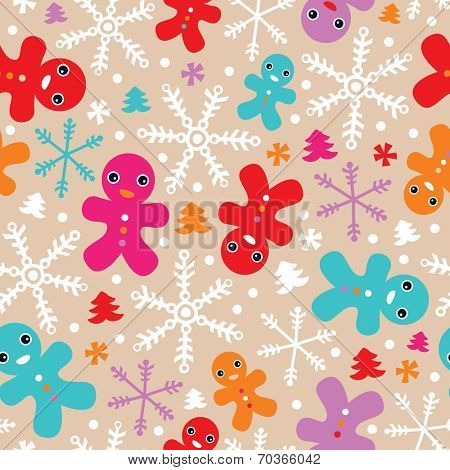 Seamless christmas ginger bread snow flakes and christmas trees illustration background pattern in vector