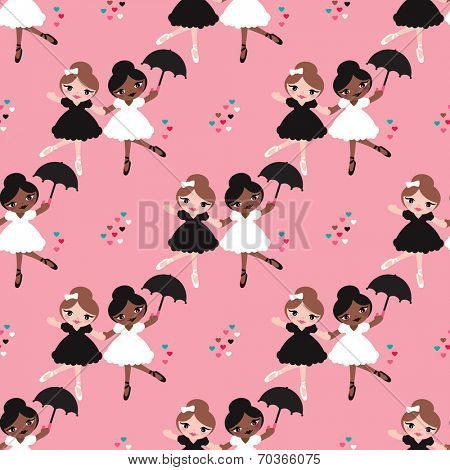 Seamless dancing girls ballerina show girl illustration background pattern in vector