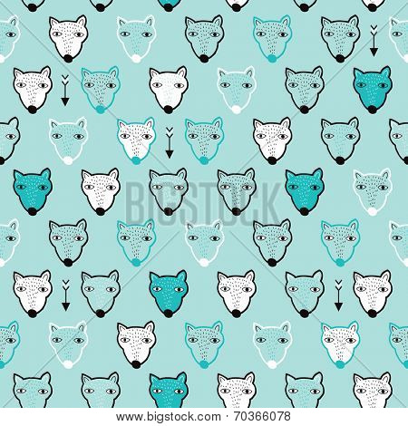 Seamless quirky kids polar bear winter animal illustration background pattern print in vector