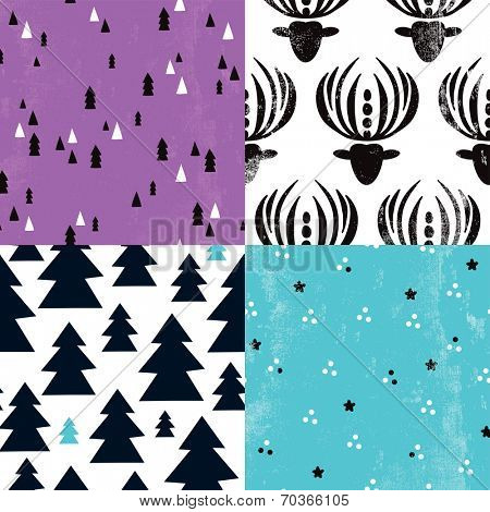 Seamless geometric christmas trees and abstract reindeer antlers illustration background pattern wrapping paper in vector