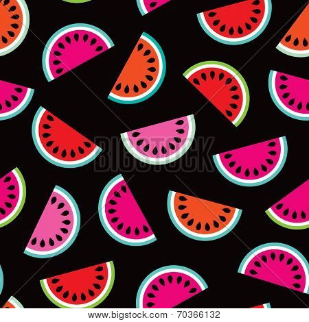 Seamless summer water melon exotic fruit colorful illustration background pattern in vector