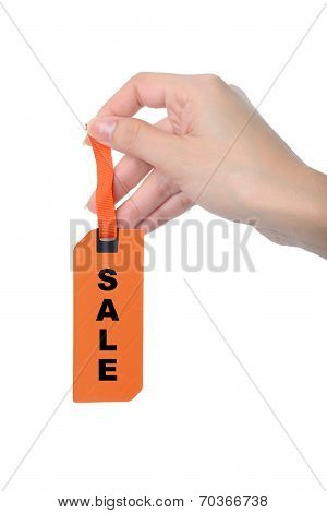 Woman Finger Hold Paper Sale Banner