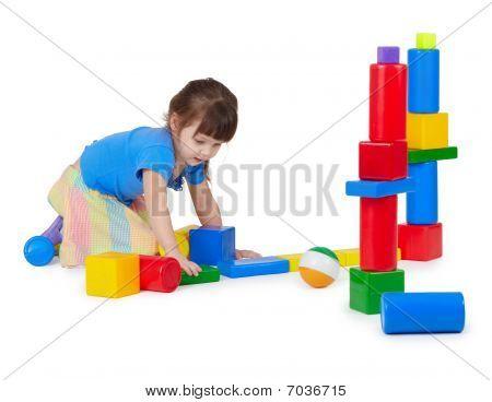 Girl Playing Toy Bricks