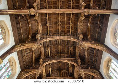 HAMPTON COURT, UK - AUGUST 03, 2014 - Roof of the Tudor Great Hall at Hampton Court Palace on August 03, 2014