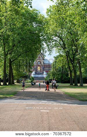 LONDON, UK - AUGUST 04, 2014 - Unknown people near the Albert Memorial in Kensington Gardens, London, UK on August 04, 2014