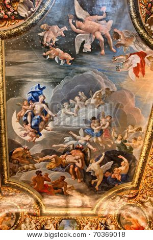 HAMPTON COURT, UK - AUGUST 03, 2014 - Ceiling painting showing Christian images inside Hampton Court Palace near London