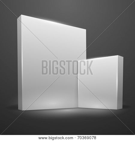 Empty white boxes template