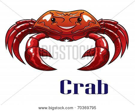 Cartoon red crab with big claws