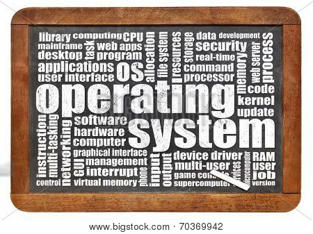 operating system word cloud on an isolated vintage blackboard with a chalk