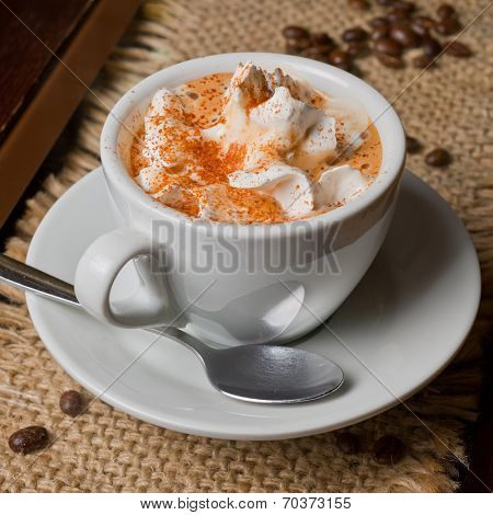 Coffee capuccino cup with milk