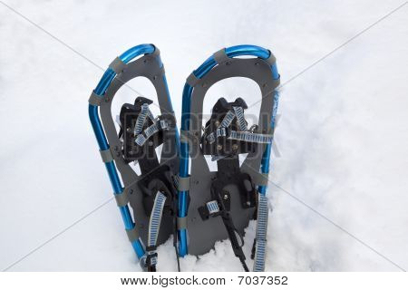 Blue Aluminum Snowshoes In A Snowbank