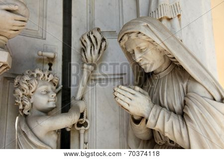 ZAGREB, CROATIA - APRIL 29: Detail of a mourning sculpture on a Mirogoj cemetery in Zagreb, Croatia on April 29, 2012.
