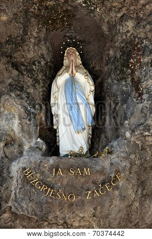 VEPRIC, CROATIA - JUNE 07: The statue of Our Lady of Lourdes in Shrine of Our Lady of Lourdes in Vepric, Croatia, on June 07, 2012.