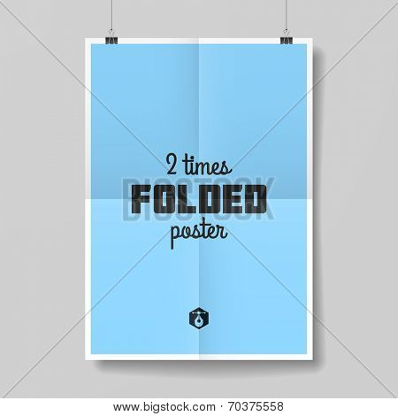 Two times folded poster template. Vector.