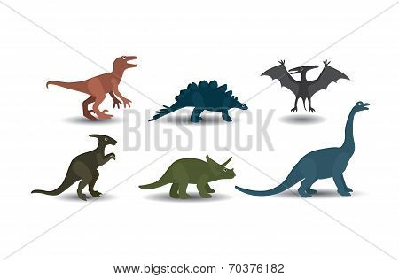 Vector Collection Of  Dinosaurs On White Background