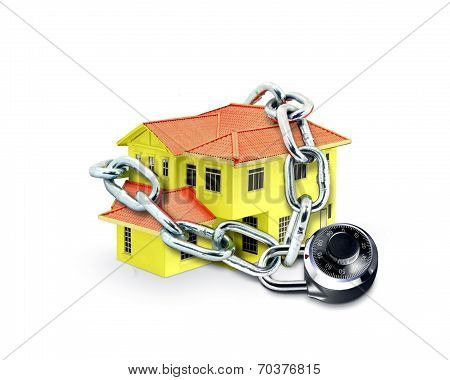 House In Chain And Combination Lock