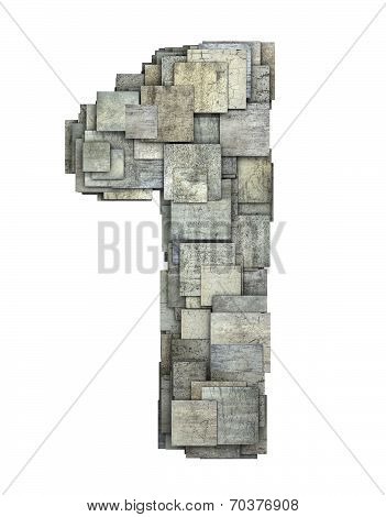 3D Gray Tile One 1 Number Fragmented On White