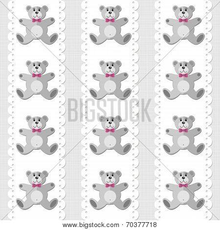Baby gorl toy animal elegant teddy bear on white doily vertical ribbon pattern on light