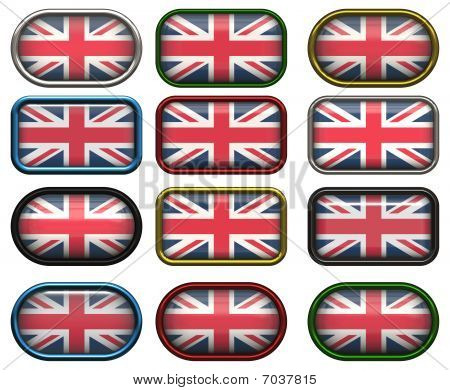 12 Buttons Of The Flag Of The United Kingdom