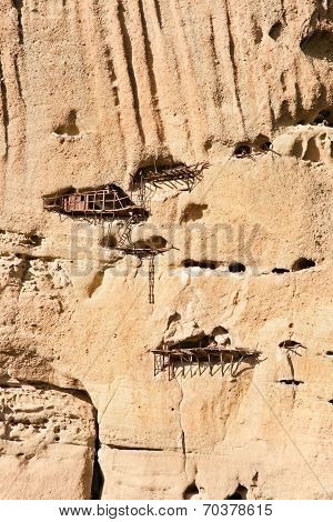 Abandoned monastic cave houses known as