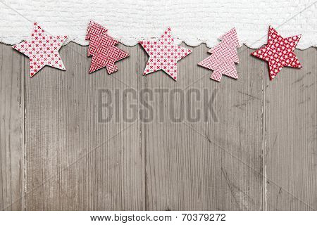 Top View Of Star And Pine Tree Decoration With Crochet Strip On Wooden Background For Christmas