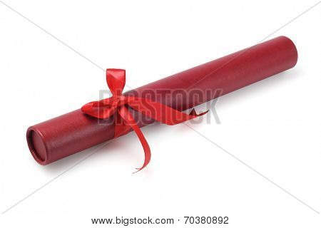 Red Scroll Container With Bow Ribbon On White Background