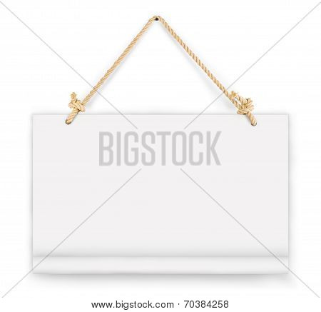 empty signboard, white blank lacquered aluminum sheet hanging with wire and nail, notice, announce,