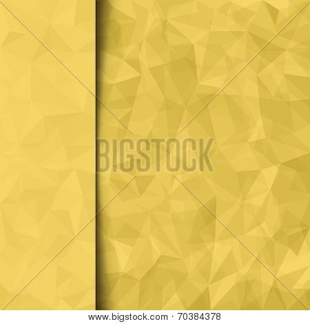 Print template. Abstract yellow vector mosaic pattern and sidebar. Vector illustration