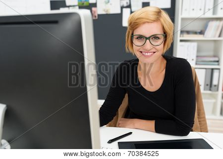 Friendly Attractive Young Businesswoman