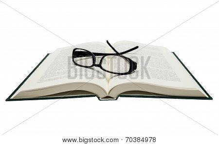 Book Opened With Eyeglasses