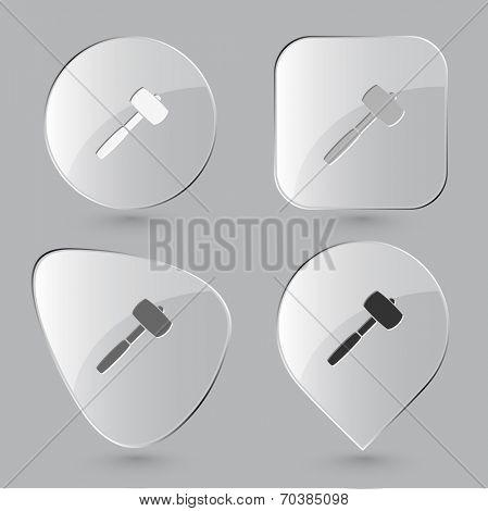 Mallet. Glass buttons. Vector illustration.