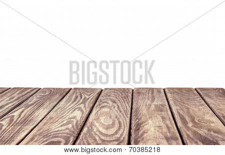 Empty Wooden Table Top On Isolated White Background